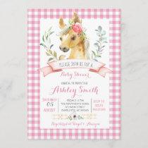 horse farm baby shower invitation pink girl