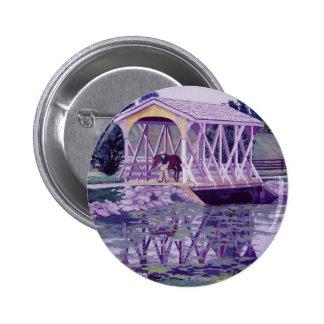 Horse Farm Bridge Pinback Button