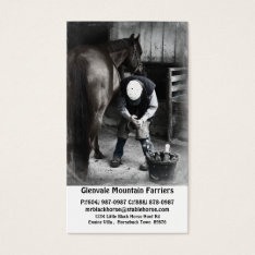 Horse Farrier Services - Hoof Trim And Shoe Business Card at Zazzle