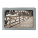 Horse fence misty blur dreaming text sepia belt buckles
