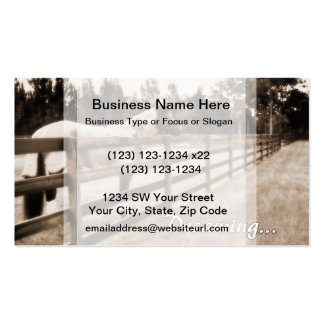 Horse fence misty blur dreaming text sepia business cards