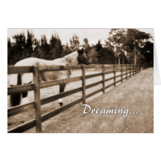 Horse fence misty blur dreaming text sepia card