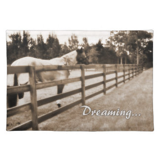 Horse fence misty blur dreaming text sepia cloth placemat
