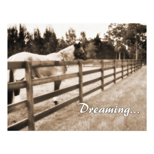 Horse fence misty blur dreaming text sepia personalized flyer