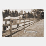 Horse fence misty blur dreaming text sepia hand towel