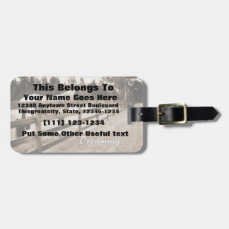 Horse fence misty blur dreaming text sepia tag for bags