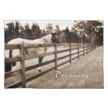 Horse fence misty blur dreaming text sepia placemat