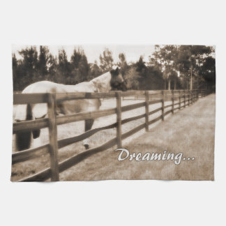 Horse fence misty blur dreaming text sepia towels