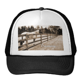 Horse fence misty blur dreaming text sepia trucker hat
