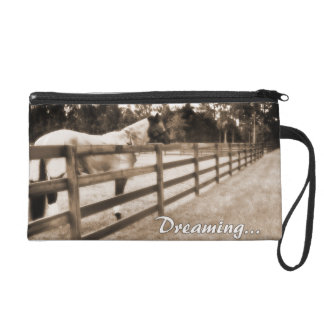 Horse fence misty blur dreaming text sepia wristlet