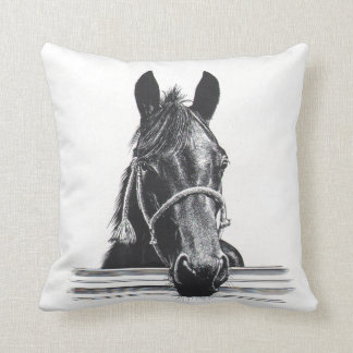 Horse & fence throw pillow