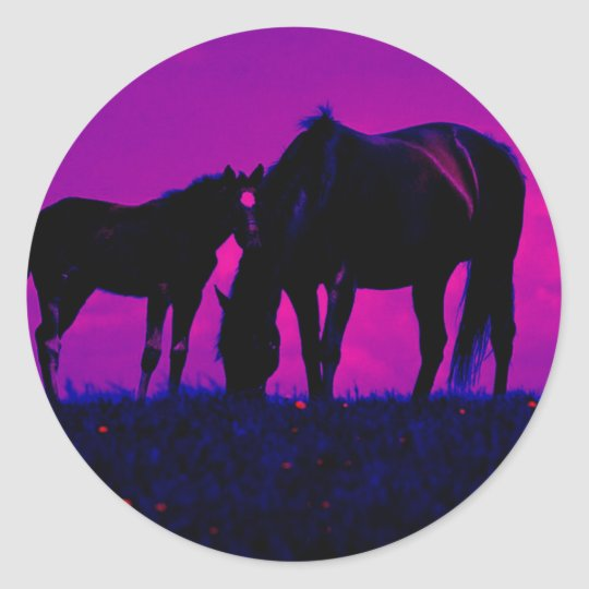 Horse & Filly Classic Round Sticker