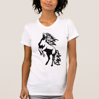HORSE FLAMING BLACK AND WHITE T SHIRT