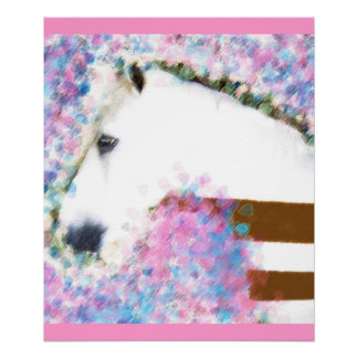 Horse & Floral Poster