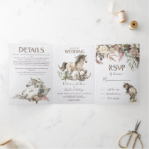 Horse Floral Ranch Wedding Tri-Fold Invitation