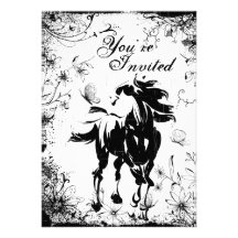 Horse, Flowers and Butterflies Birthday Invitation