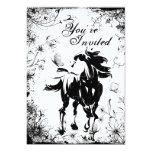 """Horse, Flowers and Butterflies Birthday Invitation 5"""" X 7"""" Invitation Card"""
