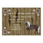 Horse, Flowers and Wood Bkg Western Birthday Party 5x7 Paper Invitation Card