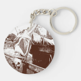 horse fly mask over fence brown white sketch keychain