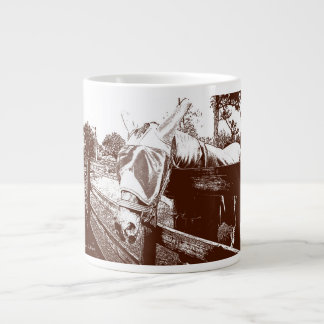 horse fly mask over fence brown white sketch large coffee mug