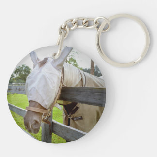 horse fly mask over fence pasture image keychain
