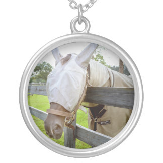 horse fly mask over fence pasture image round pendant necklace