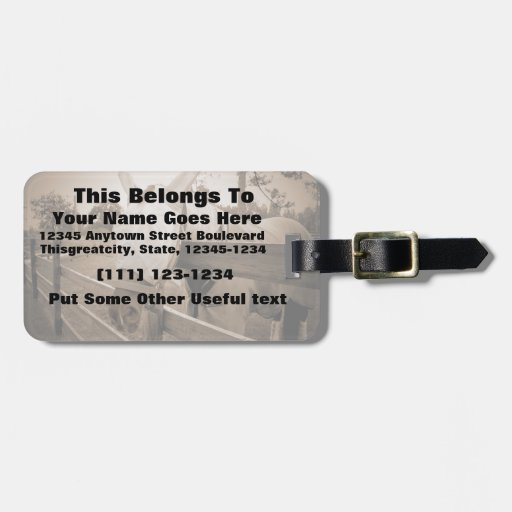 horse fly mask over fence sepia travel bag tag