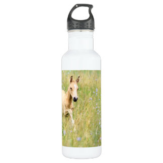 Horse Foal and Flowers Water Bottle