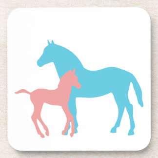 Horse & foal pink and blue silhouette coaster