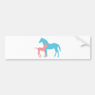Horse & foal pink & blue silhouette bumper sticker