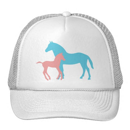 Horse & foal pink & blue silhouette hat