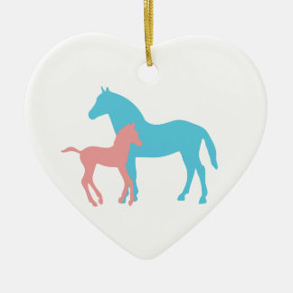 Horse foal pink blue silhouette heart ornament