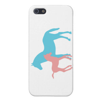 Horse & foal pink & blue silhouette iphone 5c case