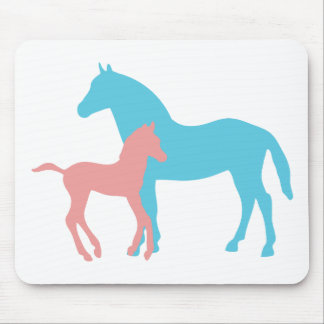 Horse & foal pink & blue silhouette mousepad