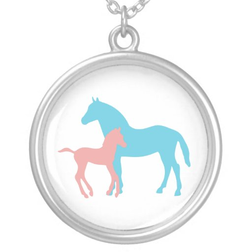 Horse & foal pink & blue silhouette necklace, gift round pendant necklace