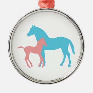 Horse foal pink blue silhouette ornament gift