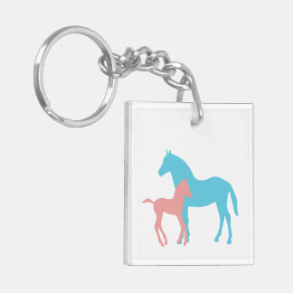 Horse & foal pink & blue silhouette playing cards keychain