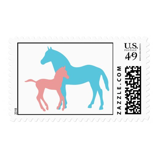Horse & foal pink & blue silhouette postage