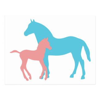 Horse & foal pink & blue silhouette postcard