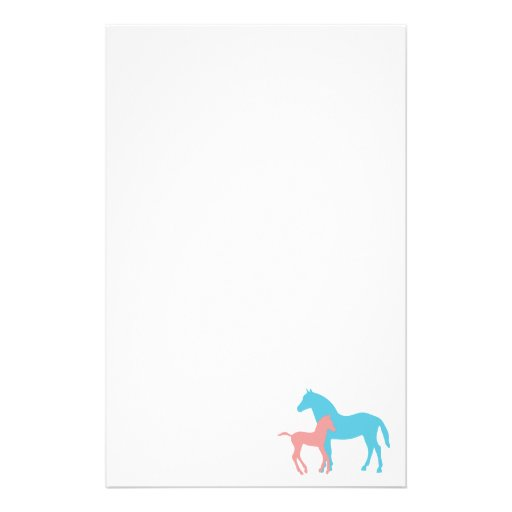 Horse & foal pink & blue silhouette stationery