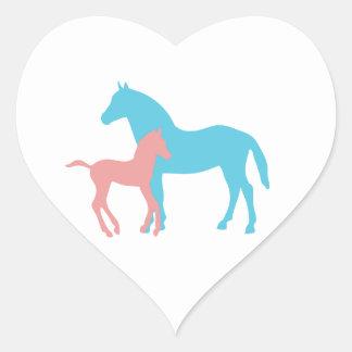 Horse & foal pink & blue silhouette stickers, gift heart sticker