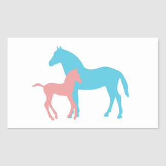 Horse & foal pink & blue silhouette stickers, gift rectangular sticker