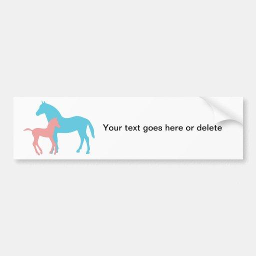 Horse & foal silhouette custom bumper sticker
