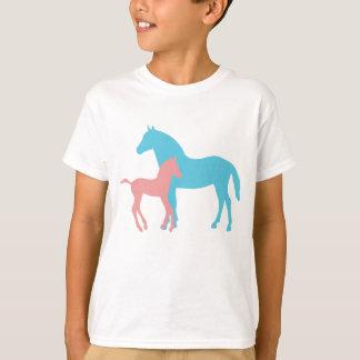 Horse & foal silhouette girls kids childrens tee