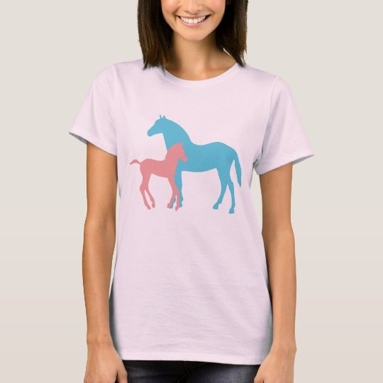 Horse & foal silhouette ladies t-shirt