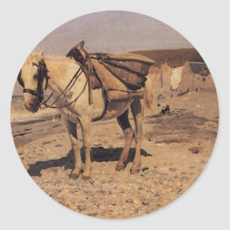 Horse for the stones collecting in the Vela Classic Round Sticker