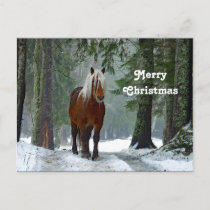 Horse Forest Snow Watercolor Christmas Postcard