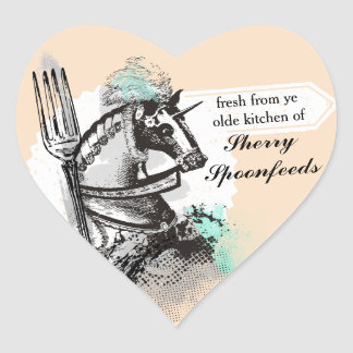 Horse fork chef cooking catering culinary heart sticker