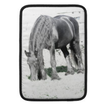 Horse Friesian Stallion Animal Nature Black white MacBook Sleeve
