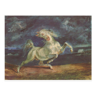 Horse Frightened by a Storm by Eugene Delacroix Postcard